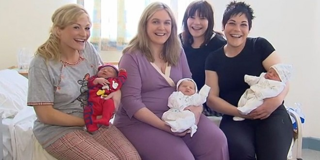 Drie zussen krijgen baby op dezelfde dag
